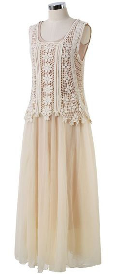Daisy Crochet Tulle Twinset Maxi Dress