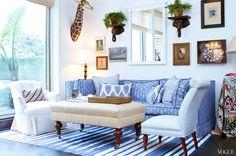 The blue and white Living Room of Rebecca de Ravenel's New York City Apartment