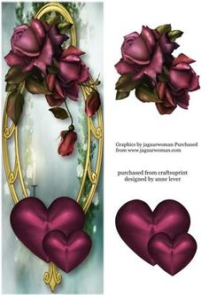 Large DL Hearts Flowers Purple November Roses on Craftsuprint designed by Anne Lever - This lovely large dl sized topper features the gorgeous purple 'November Roses' and beautiful purple hearts on a fancy golden frame. It has a single layer of decoupage to add depth.  - Now available for download!