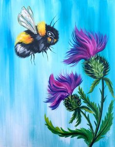 Beginners learn to paint full acrylic art lesson of a very easy Bumble Bee enjoying these fluffy thistles. This is a beginner painting suitable for all levels. We are supporting St Jude Children's Research hospital All month for Play Live 2018 #derpsquad #artsherpadesignteam #playlive #stjudeplaylive