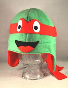 Red Turtle Character Fleece Hat by TheCraftEGalShop on Etsy