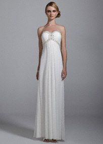 Make unforgettable memories on your special day in this ultra-chic wedding dress!  Strapless bodice with sweetheart neckline features beaded ruched detail on bust.  A line silhouette flows softly to the ground.   Available online and in select stores.  Fully lined. Imported polyester. Invisible back zip. Professional spot clean only, not direct heat or steam.  To protect your dress, try our Non Woven Garment Bag.