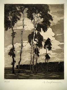 Original Eva Langkammer Etching Aquatint Landscape Scene Limited to 100 Drypoint Etching, A Moment In Time, Arts And Crafts Movement, Etchings, Printmaking, German, Letter, Trees, Scene