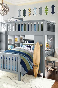 Bunk beds are great for siblings and sleepovers. Shop Pottery Barn Kids' bunk beds and loft beds for kids with functional and sturdy styles. Bunk Beds For Boys Room, Bunk Bed With Desk, Cool Bunk Beds, Bunk Beds With Stairs, Kid Beds, Kids Bedroom, Kids Rooms, Loft Beds, Master Bedroom