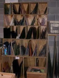 Glass storage unit.
