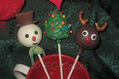 Cake Pops – Christmas Cake Pops w/ snowman, Christmas tree and reindeer at http://www.sevenlittlemonkeys.com