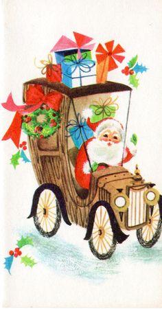 Model T Santa. Vintage Christmas Card. Retro Christmas Card. Mid-Century Christmas Card.