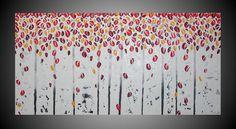 pintura abstracta de acrílico 120 x 60 cm en lienzo Art Deco imagen grandes árboles abedul bosque 3D estructurado negro blanco gris rojo naranja amarillo