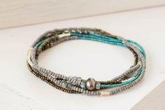Beaded Multi Wrap Elastic Bracelet Seed Bead Jewelry Beaded Stretch Bracelet with Labradorite Zircon & Pyrite Delicate Boho Chic Jewelry