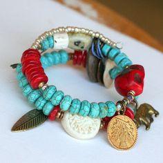 SALE Native American Jewelry, Beaded Bracelet, Turquoise Jewelry, Southwestern Jewelry, Memory Wire Bracelet