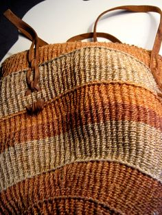 Vintage Sisal Market Bag with Leather straps