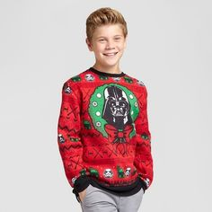 Boys' Star Wars Darth Vader Ugly Christmas Pullover Sweaters - Red