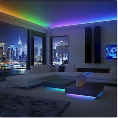 Brighten up your entire home with these awesome color changing LED light strips! These LED light strips are perfect to add some color and light to your home! Make any room look stylish instantly. Bedroom Lighting, Home Lighting, Lighting Ideas, Outdoor Lighting, Kitchen Lighting, Cabinet Lighting, Lighting Design, Led Bedroom Lights, Display Lighting