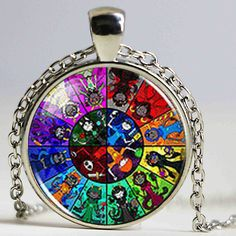 Steampunk 2017 New Homestuck God Wheel Game Comic Necklace Pendant Charm Jewelry Cosplay Anime Women Men Chain best friends Gift