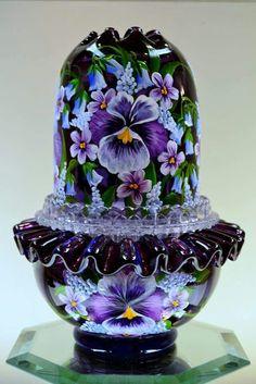 Fenton Lamps, Fenton Glassware, Vintage Glassware, Vintage Dishes, Vintage Lamps, Vintage Fairies, Fairy Lamp, Rest, All Things Purple