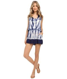 Young Fabulous & Broke Women's Lark Romper Navy Alligator Border Wash Jumpsuit. Young Fabulous & Broke Size Chart. Look perfectly polished in this Young Fabulous & Broke™ romper. Romper flaunts a lightweight and superbly soft fabrication. Flattering halter neckline with ties at nape. Lovely ombré design. Sleeveless construction. Elastic waist creates a blouson look. Dual hand pockets. Wide-leg shorts. 100% rayon. Hand wash cold, lay flat to dry. Imported. Measurements: Inseam: 2 1⁄2 in...