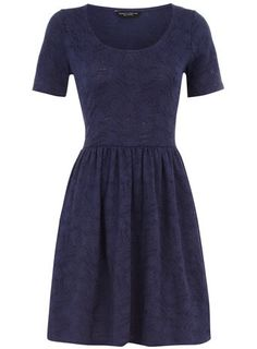 Navy Jaquard Dress