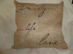 Custom made burlap stenciled pillow.  HG Design