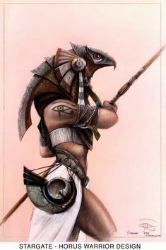 STARGATE 1994 Concept Art and Storyboards by Patrick Tatopoulus and Peter Rubin « Film Sketchr Egyptian Mythology, Egyptian Symbols, Egyptian Art, Egyptian Pharaohs, Gods Tattoo, Body Art Tattoos, Tattoo Drawings, Tatoos, Anubis And Horus