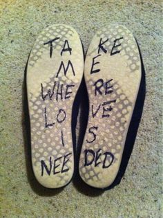 The message is on Toms :) would also make a cool tattoo to put on your foot.