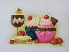Scrapbook Images, Cupcakes, Country Crafts, Kitchen Art, Fabric Painting, Cake Art, Macarons, Tatoos, Gingerbread