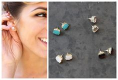 Faux Crystal Square Studs in 4 Styles!