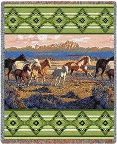 Wild Horses Green Western Tapestry Throw Blanket