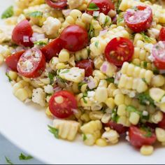 A naturally gluten-free side and great way to enjoy fresh corn and tomatoes! Spinach Salad Recipes, Healthy Salad Recipes, Healthy Foods To Eat, Healthy Eating, Corn Salad Recipe Easy, Corn Tomato Salad, Corn Salads, Easy Salads, Potato Salad
