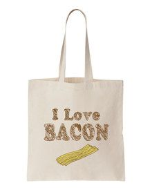 Tote Natural BAG with I love BACON Design
