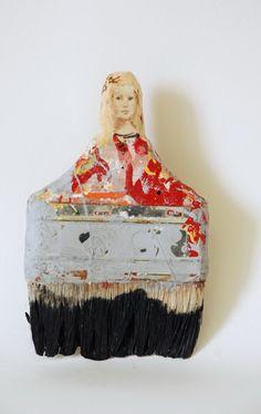 Sculpture, Paintbrush Portraits by Rebecca Szeto