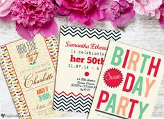 birthday party invitations with modern colors