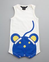 Little Marc Jacobs Mouse-Print Playsuit - OMG with a little sweatband around his baby head? Too Adorable. #babyboy
