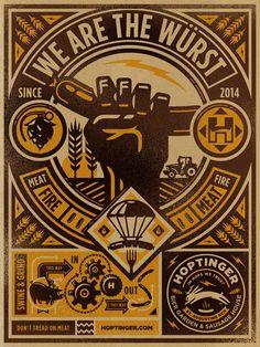 """Hoptinger"", Bier Poster (We Are The Wurst), - Graphic Design by Kendrick Kidd (b. Graphic Design Art, Graphic Design Illustration, Graphic Design Inspiration, Badges, Communication Art, Illustrations Posters, Branding Design, Packaging Design, Label Design"