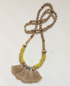 Canary Tassel Necklace $85.00
