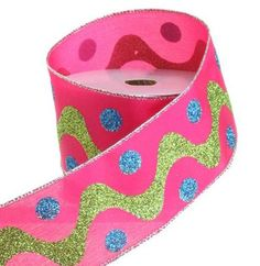 """RAZ Candy Dot Ribbon  Pink/Lime/Blue Made of Polyester Measures 2.5"""" X 10 Yd Wire Edge  RAZ Candy Wonderland* Collection *Arriving Summer 2012*"""