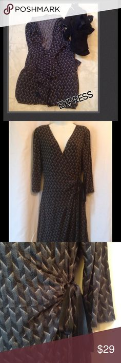 """Beautiful wrap dress by Express size """"L"""" ❤️ Beautiful wrap dress size """"L"""" with a silk tie (see pic #3) By Express. Please ask any questions always happy to answer and Happy Poshing   Express Dresses Midi"""