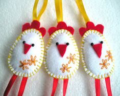 Birds Felt Ornaments Set of 4 by MartianiQue on Etsy
