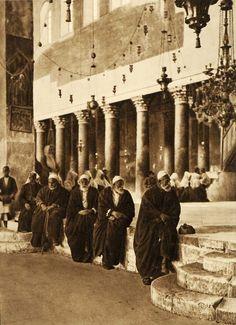 Bethlehem-بيت لحم: BETHLEHEM - Palestinian worshippers in Church of the Nativity, ca. early 1920s