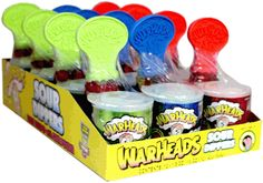 Warheads Sour Dippers Candy come with sweet lollipops that get dipped in sour powder and once licked, it paints your your mouth! Lollipop Candy, Sour Candy, Favorite Candy, Dipper, Candyland, Diy Hacks, Yummy Drinks, Christmas Presents, Dog Bowls
