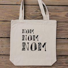Nom Nom Nom  Food Lover Tote Bag  Perfect for door HandmadeandCraft, $16.99