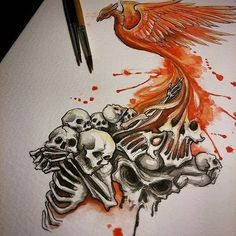 Sketching designs tonight . #tattooartist  #tattoodesign #ink #Watercolour #sketch #illustration #darkillustration #drawing #splash #splashes #dark #phoenix #bird #flames #skulls #demons #skeletons #fire #rebirth #Bournemouth #bournemouthartist #fantasy