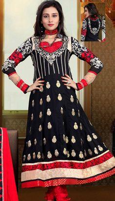 Get Latest Bollywood Latest Black Georgette #Anarkali Dresses Online   #Price INR- 4189 Link- http://alturl.com/mvotp