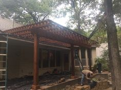 This is a cedar wood pergola GroundScape installed in Cedar Hill Texas. Cedar Hill Texas, Wood Pergola, Cedar Wood, Landscaping Company, Arbors, Outdoor Structures, Landscape, House Styles, Outdoor Decor