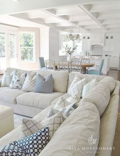 Style {Happy Independence Day Coastal Style Living Room - Sita Montgomery - Click through for more beautiful coastal rooms!Coastal Style Living Room - Sita Montgomery - Click through for more beautiful coastal rooms! Living Room Pillows, Coastal Living Rooms, My Living Room, Home And Living, Living Spaces, Coastal Cottage, Simple Living, Cozy Living, Coastal Homes
