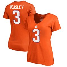 Vic Beasley Clemson Tigers Fanatics Branded Women's College Legends Name & Number T-Shirt - Orange