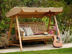 Hollywoodschaukel Garten Ersatzdach Beige Holz Konstruktion