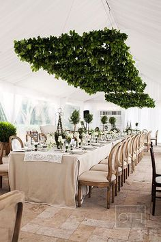 TREND: Greenery / Gorgeous greenery suspended inside a tent. It's ALL about the greens this year. #wedding