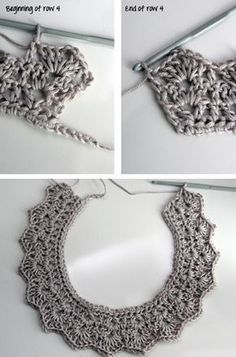 21 DIY Collar Necklace Ideas Add a chain or ribbon for a different look: weave through the crochet pattern. I wish this had a pattern! Crochet Collar Pattern, Col Crochet, Crochet Lace Collar, Learn To Crochet, Crochet Stitches, Crochet Patterns, Crochet Crafts, Crochet Projects, Diy Crafts
