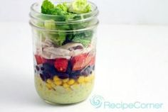 Chicken Taco Salad in a Jar - served with an avocado and goat cheese dressing for an added punch of flavor. | www.RecipeCorner.com