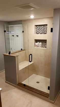 Amazing Small Master Bathroom Shower Remodel Ideas and Design 01 Small Basement Bathroom, Master Bathroom Shower, Tiny House Bathroom, Bathroom Renos, Bathroom Layout, Bathroom Renovations, Compact Bathroom, Budget Bathroom, Small Bathrooms
